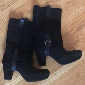 Earthies Mid-Calf Black Suede Boots